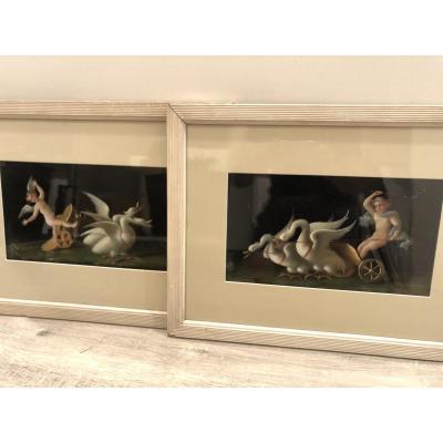 Grande paire de gouaches XIXe Pompei signées D'AMBROSIO Naples ange putti et cygnes gouache