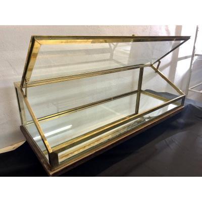 UNE (1) VITRINE DE MAGASIN (d'une paire ) 1920 en laiton verre et miroir Art DecoTBE  1/2