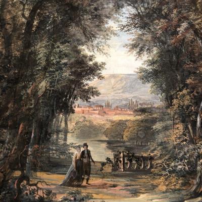Grande aquarelle XIXe Couple dans un parc Ruines Romaines en arrière plan