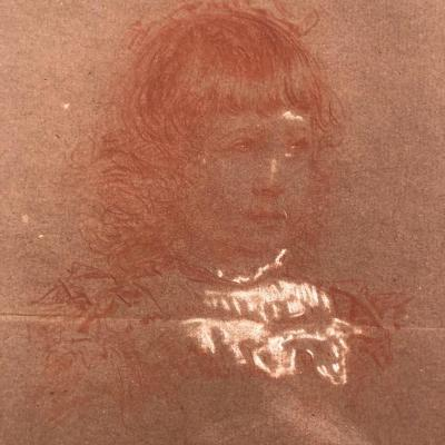 Paul Rajon 1842 / 43-1888 Sanguine Portrait Of A Young Girl Signed
