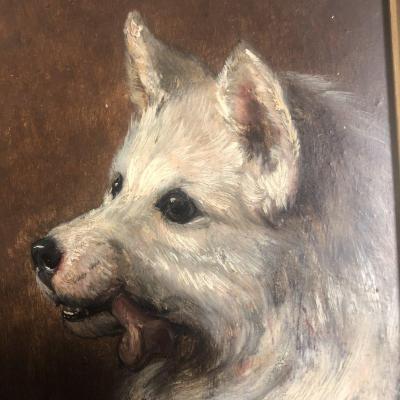Carl Friedrich Deiker 1836-1892 1 (a) Dog (of A Pair) Loulou Or German Spitz Hunting 1/2