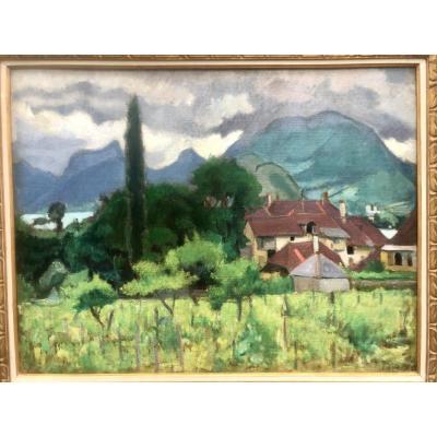 Jean PUY 1876-1960 Roanne IMPORTANTE HUILE FAUVE de 1910 TALLOIRES 62 x 81 cm Lac Annecy