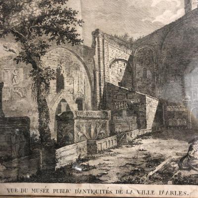 VUE DU MUSÉE D'ANTIQUITÉS D' ARLES 1789 Rare gravure de GUIBERT XVIIIe Provence Rhone