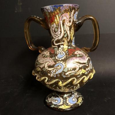 VASE XIXe en verre émaillé dans le gout de l' Orient Perse