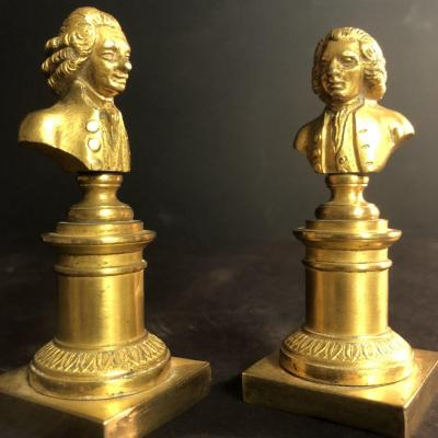 Voltaire And Rousseau Pair Of Mid-19th Century Gilt Bronze Busts