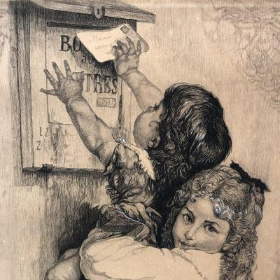 Alfred Hopp 19th Charcoal And Gouache From 1887: 2 Girls In The La Poste Letterbox