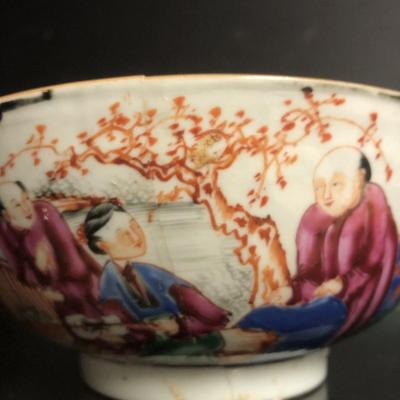 Large Bol Compagnie Des Indes XVIIIe China Canton Porcelain Bowl Accident