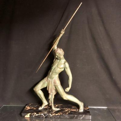 Dh Chiparus 1886-1947 Important Sculpture Hunter With Javelin 85 Cm Spelter With Nuanced Patina