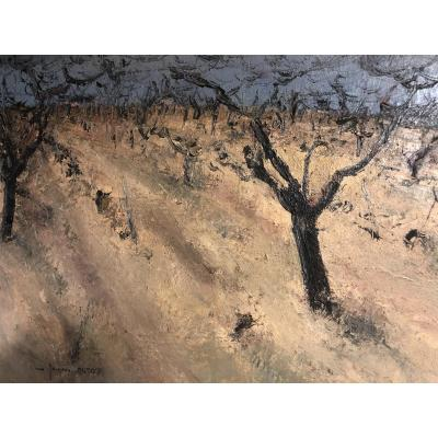 Oudot Jacques 1938 Peach Field In Provence Large Oil On Canvas Signed En Tbe