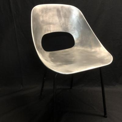 Pierre Guariche 1926-1995 Rare Tonneau Chair In Aluminum By Steiner Publisher 1954 In Tbe