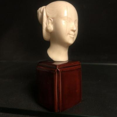 Vietnam Or Laos Head Of A Woman In Ivory Base Early Twentieth Bust Indochina
