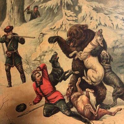 Bear Hunting In Russia Framed 19th Chromolithography