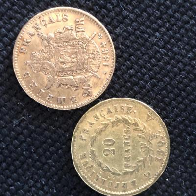 2 (deux) pieces OR 20 Francs Napoleon1807 et 1864  piece