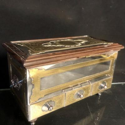 Chrstofle France Rare Jewelry Box In Silver, Gold And Rosewood Signed