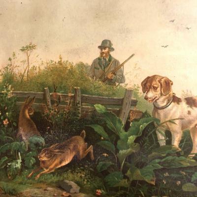 CHASSE AU LIEVRE Chromolithographie XIXe chasseur et chien