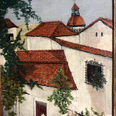 Elisée Maclet 1881-1962 Large Oil On Cardboard Village Corse Circa 1928 Painter From Montmartre