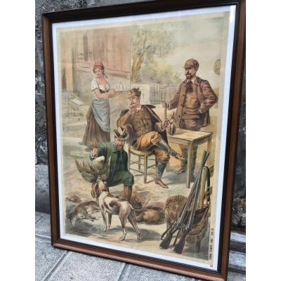GRANDE affiche lithographique XIXe RETOUR DE CHASSE signée LENFER et CAMIS Imprimeur chasseur