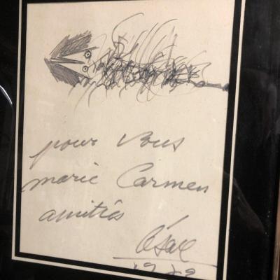 CESAR BALDACCINI 1921-1998 POISSON Dessin au crayon signé daté César Ecole de Nice