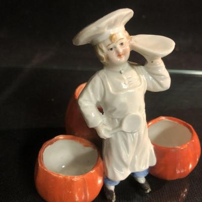 Young Cuisinier Art Deco Condiment Service Salt And Pepper Mustard Pot In Porcelain Cook