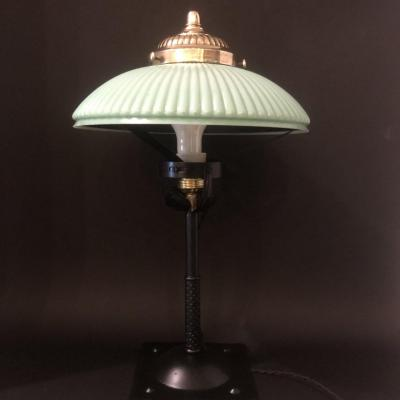 1900 Office Lamp In Opaline And Metal Known As Notary Lamp In Very Good Condition