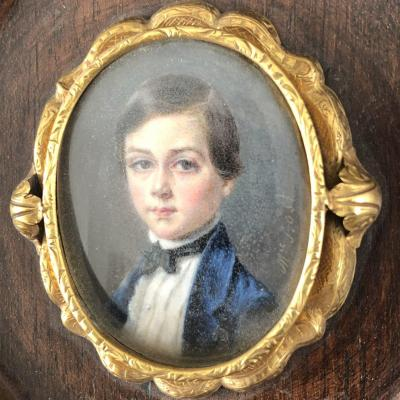 Mélanie Bost 1810- Miniature On Mother-of-pearl Set With Gold In A Rosewood Frame Young Boy