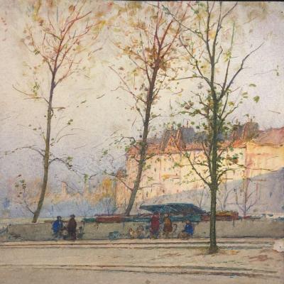 Paul DUVERNAY XXe Aquarelle Quai des bouquinistes à Paris Bouquiniste long de la Seine
