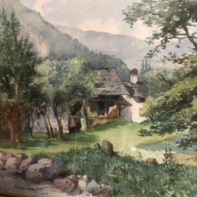 CHATROUSSE 1847-1919 Grenoble Aquarelle de Brides vers Valencin en 1904 Dauphiné