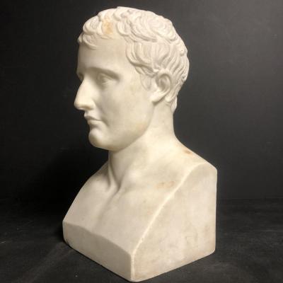 Antoine Denis CHAUDET 1763-1810 d'apres Buste marbre de NAPOLEON en Hermès Empereur