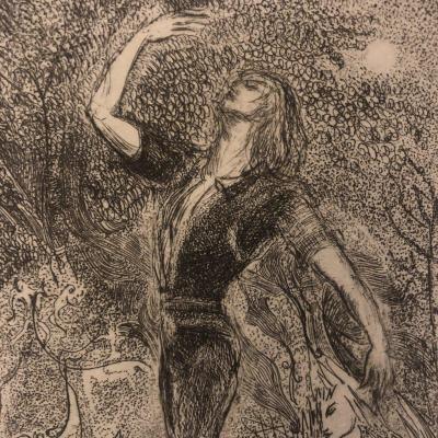 Maurice BEJART danseur Ballet SORTILEGES 1970 pointe sèche d' Alix ANTOINE Danse