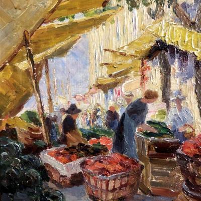 A. LASSAUZÉ Huile Scène de marché en Provence (?)