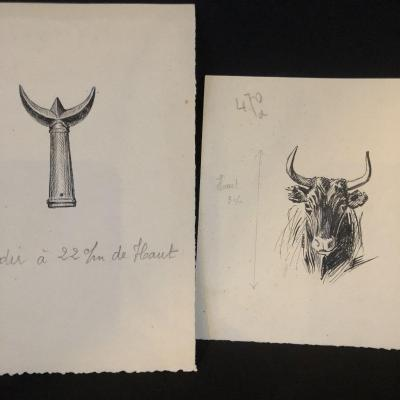 Eugène Leliepvre Drawings X2 In Ink Taurus Camarguais And Trident By Gardian Arles Camargue /a