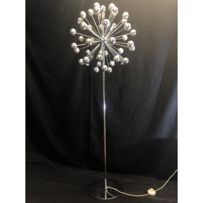 Spectaculaire LAMPADAIRE SPOUTNIK 1970 à 6 lumières TBE sputnik pissenlit