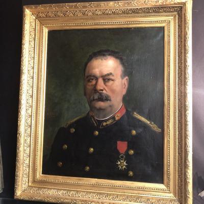 Alphonse Jules Debaene XIXth / XXth Large Oil 1883 Military Horse Artillery Officer