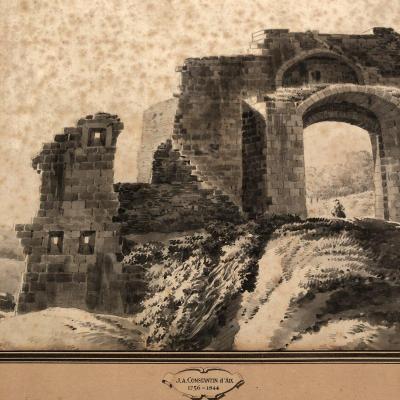 Jean Antoine CONSTANTIN D'AIX 1756-1844 Aquarelle et lavis Chateau de St Chamas 13 Provence