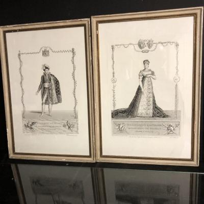 NAPOLEON Empereur / Marie Louise d'Autriche 2 eaux fortes 1810 par Godefroy et Isabey