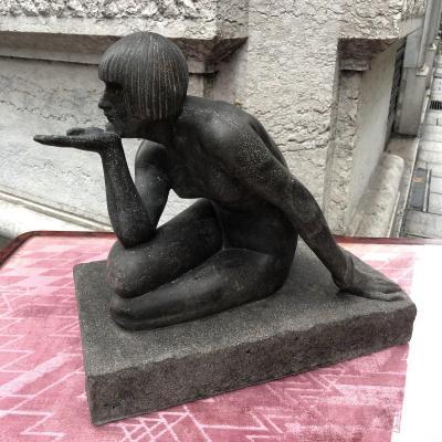 Maurice GUIRAUD-RIVIERE 1881-1947 L'énigme ENIGMA  granit noir signé Art Deco Guiraud Riviere
