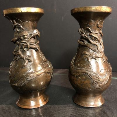 CHINE Paire de vases en bronze XIXe Dragon