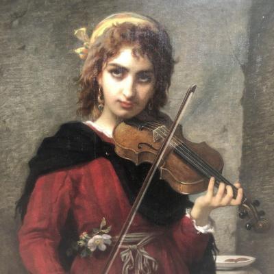 Jules SALLES WAGNER Nîmes 1814-1898 IMPORTANTE HUILE La jeune violoniste 128 x 106 cm encadrée