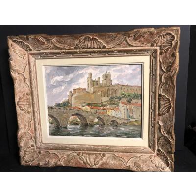 Marcel AZEMA BILLA 1904-1999 Huile Béziers Le vieux pont sur l'Orb et cathédrale Azema-Billa /1