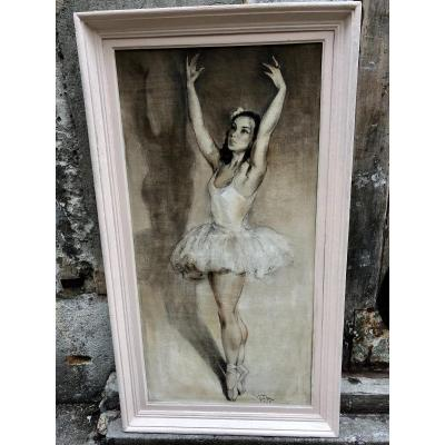 Georges Pierre GUINEGAULT Grande huile DANSEUSE double face paysage Danse classique