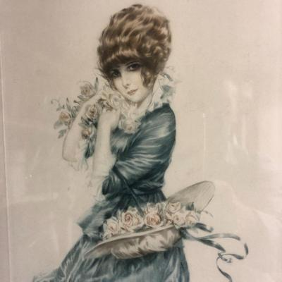 Maurice Milliere 1871-1946 Young Elegant With Roses Drypoint