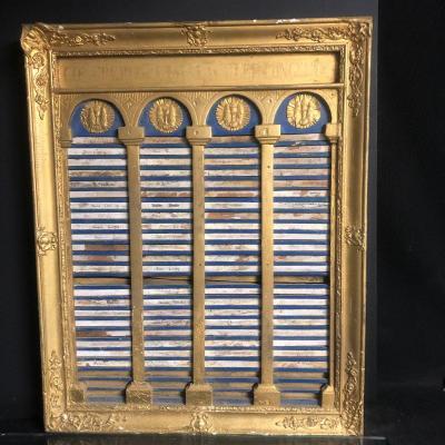 RARE panneau XIXe de congregation religieuse en bois doré et patine bleue