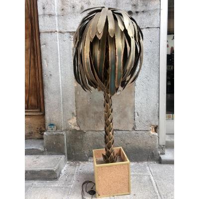 MAISON JANSEN par Christian TEYCHOURES Grand lampadaire PALMIER 1970