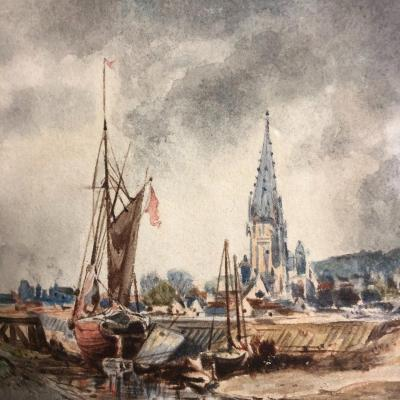 Jules Achille Noel 1810-1881 Watercolor Fishing Boats On The Normandy Coast J. Noël Normandie