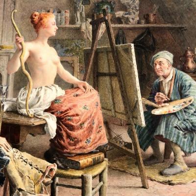 Maurice LELOIR 1853-1940 PEINTRE ET SON MODELE Aquarelle exposée en 1922 Galerie G. PETIT Paris