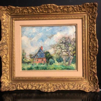 Emmanuel De La Villeon 1858-1944 Oil The House Near The Duhamel Wood Around 1937 Villéon