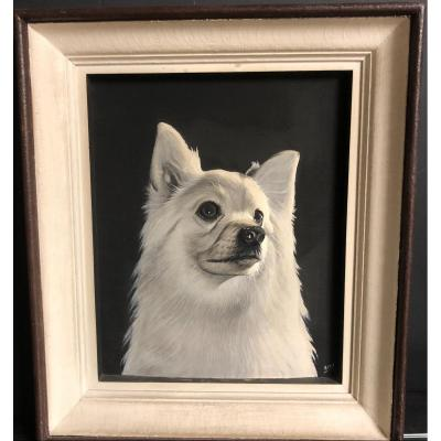 Hery Portrait Of Loulou Dog Wood Carved In Relief And Painted Gold Medal Paris 1927