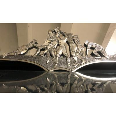 Georges Marius BORETTI RARE Miroir 1930 RUGBY en bronze argenté La mêlée rugbyman sport Lyon