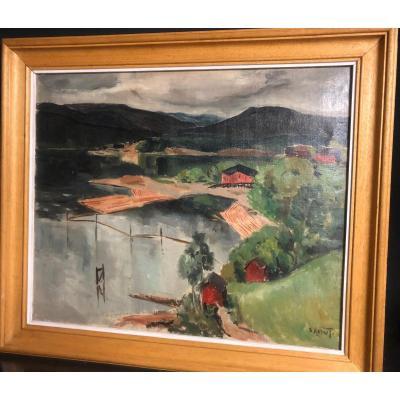 Marcel Sahut Grenoble 1901-1990 Oil Lake In Norway? Museum In Volvic Husband Of Louise Morel