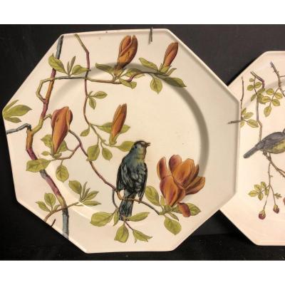 Minton Essex Birds XIXth Rare Flat Plate Brand Of 1880 In Very Good Condition / 1